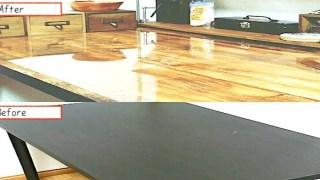 IKEAのテーブルを壁紙でリメイク