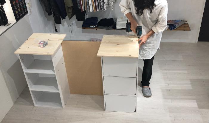 カウンターテーブルに集成材を固定