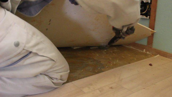 部屋の角もスクレーパーを差し込んで押し上げるように剥がす
