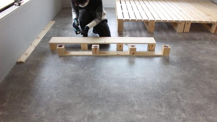 1×8材でヘッドボードに棚を作る