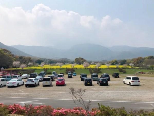 しまばら火張山花公園の駐車場は広い