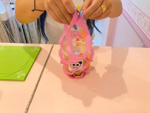 タピパンダのピンクのタピオカホルダー