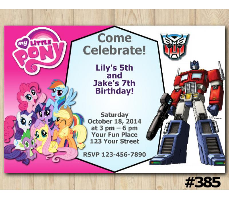 twin my little pony and transformers invitation personalized digital card