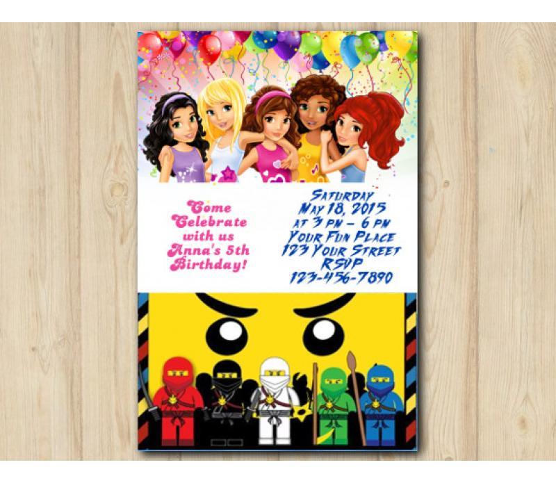 twin lego friends and lego ninjago invitation personalized digital card