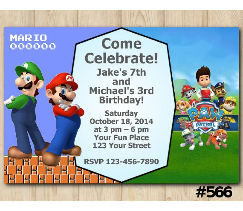 Mario Birthday Card Invites
