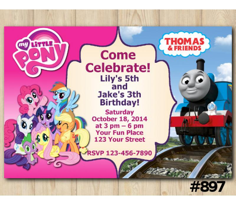 twin my little pony and thomas and friends invitation personalized digital card
