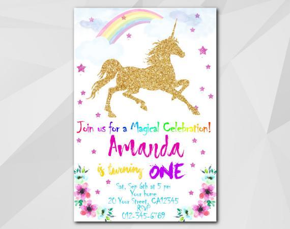 unicorn invitation card 7th birthday
