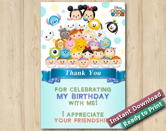 Tsum Tsum Thank You Card Template DIY Printables