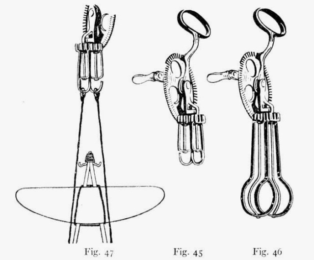 Fig. 45.—A Home-made Motor Winder. Fig. 46.—The Kind of Egg-beater to Use. Fig. 47.—How the Motors are Connected to Winder for Winding.
