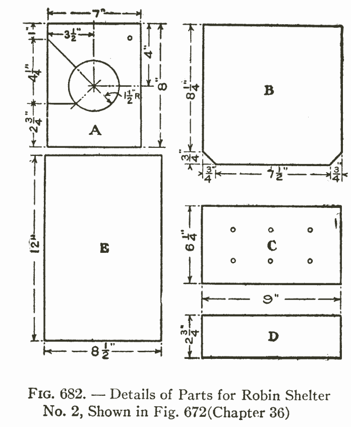 Fig. 682. — Details of Parts for Robin Shelter No. 2, Shown in Fig. 672 (Chapter 36)