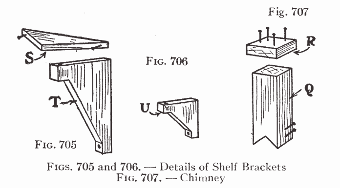 Figs. 705 and 706. — Details of Shelf Brackets Fig. 707. — Chimney