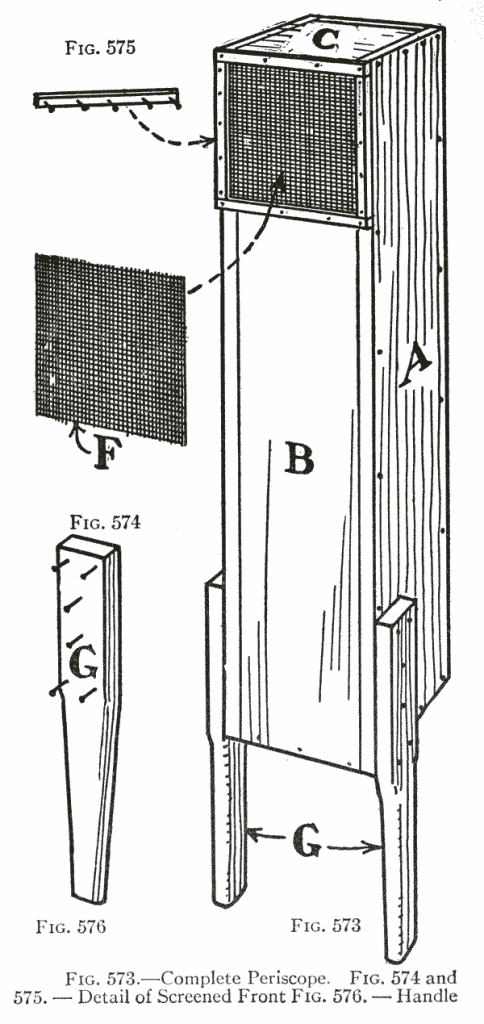 Figure 571 shows a rear view and Fig. 572 a front view of the home-made periscope in use, Fig. 573 shows a working detail of the completed periscope, and Fig. 577 shows a vertical section.