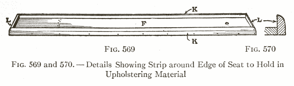 Fig. 569 and 570. — Details Showing Strip around Edge of Seat to Hold in Upholstering Material
