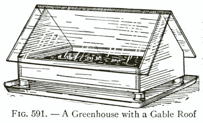 Fig. 591. — A Greenhouse with a Gable Roof