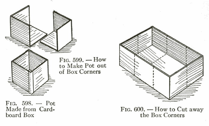 Fig. 599. — How to Make Pot out of Box Corners  /  Fig. 598. — Pot Made from Cardboard Box   /  Fig. 600. — How to Cut away the Box Corners