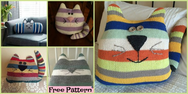 free cat cushion cover to knit # 5