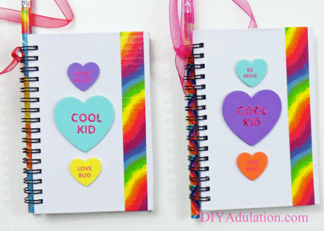 These DIY rainbow notebook Valentines are so easy to make! They are a perfect non-candy treat that will encourage creativity and writing. #ad