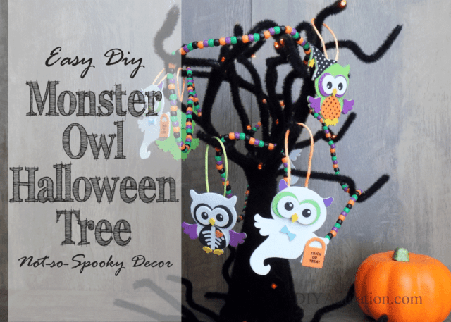 Get the kids in on the Halloween décor fun with this not-so-spooky monster owl Halloween tree that is super easy to make. #ad