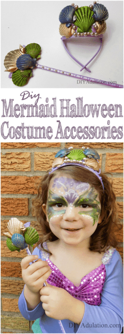 These DIY mermaid Halloween costume accessories will take your child's costume to the next level. Made with a price tag frugal DIY mommas can get behind!
