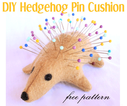 Hedgehog pin holder with pins in the back