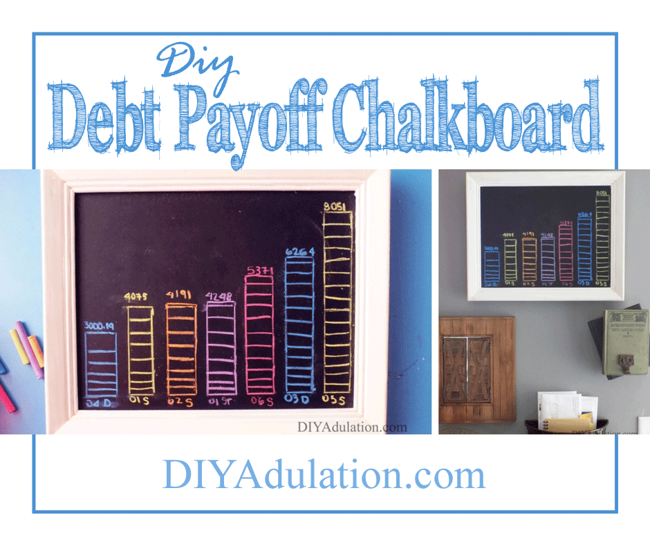 Collage of White Framed Chalkboard with Colorful Bar Graphs on it and text overlay: DIY Debt Payoff Chalkboard