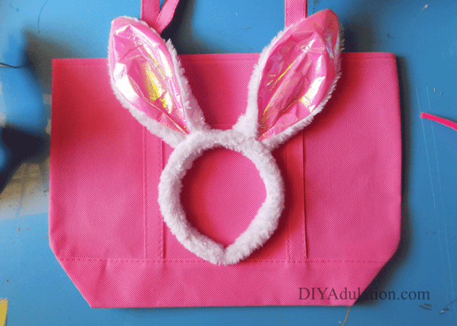 Pink Tote Bag with Pink Fuzzy Bunny Ears Headband