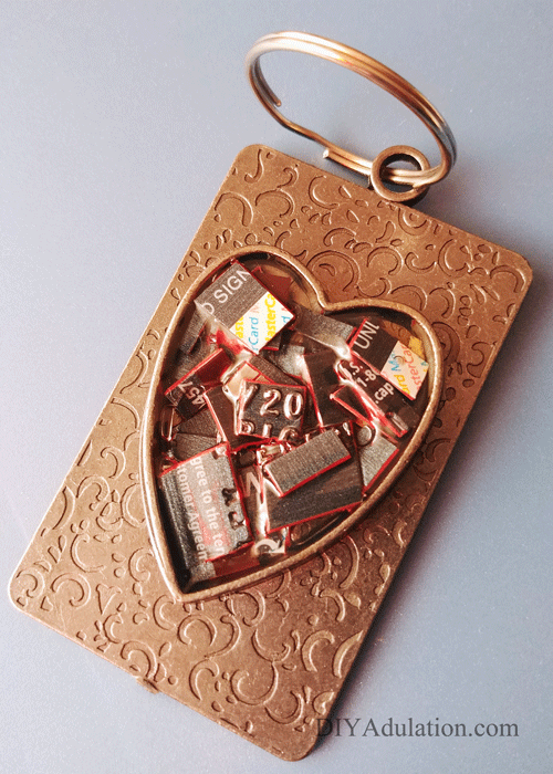 Heart Credit Card Keychain with Key Ring Attached
