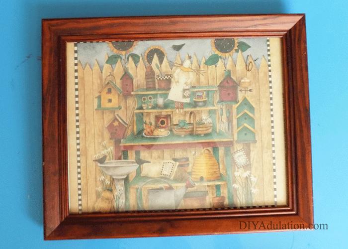 Wooden Thrift Store Frame with garden scene inside