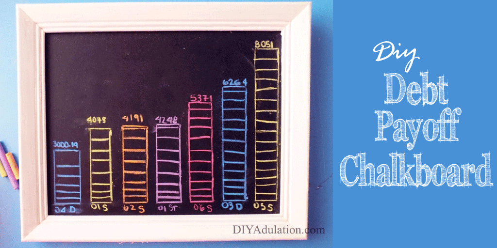 White Framed Chalkboard with Colorful Bar Graphs on it and text overlay: DIY Debt Payoff Chalkboard