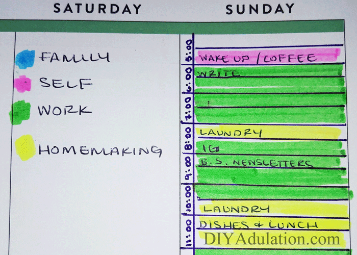 Color Coded Planner Entry and Key