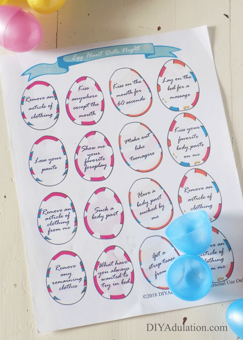 Date Night Eggs Printable with plastic eggs