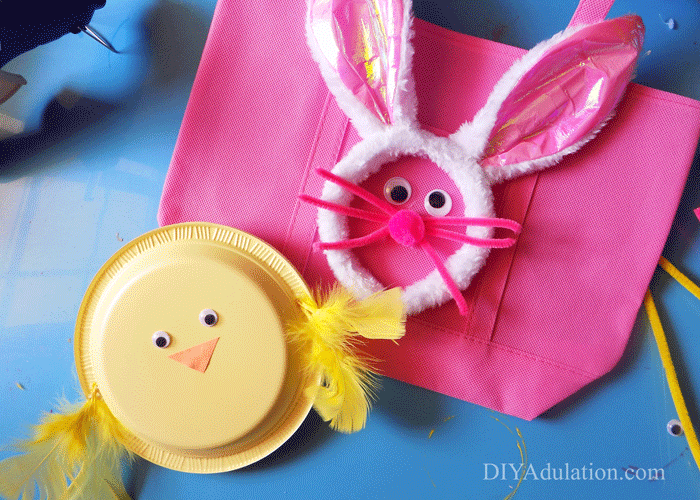 Pink Easter Bunny Egg Hunt Bag with Yellow Baby Chick Noisemaker