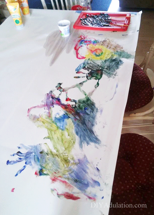 Painted Wrapping Paper on a Dining Table