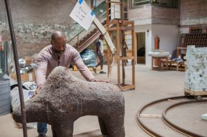 Theaster Gates with Boli in his studio Chicago, 2014 Photo by Sara Pooley