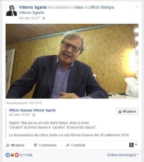Il post di Vittorio Sgarbi