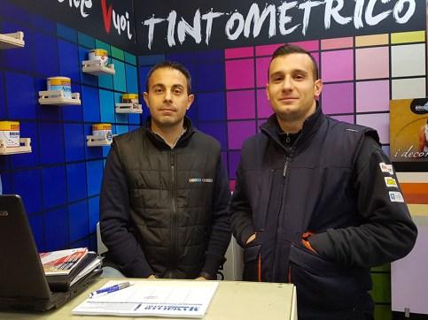 Giovanni Ferrari, il titolare e Luigi Mele, responsabile asistenza macchine elettriche e a motore di Brico Point Store a Galatina (LE)