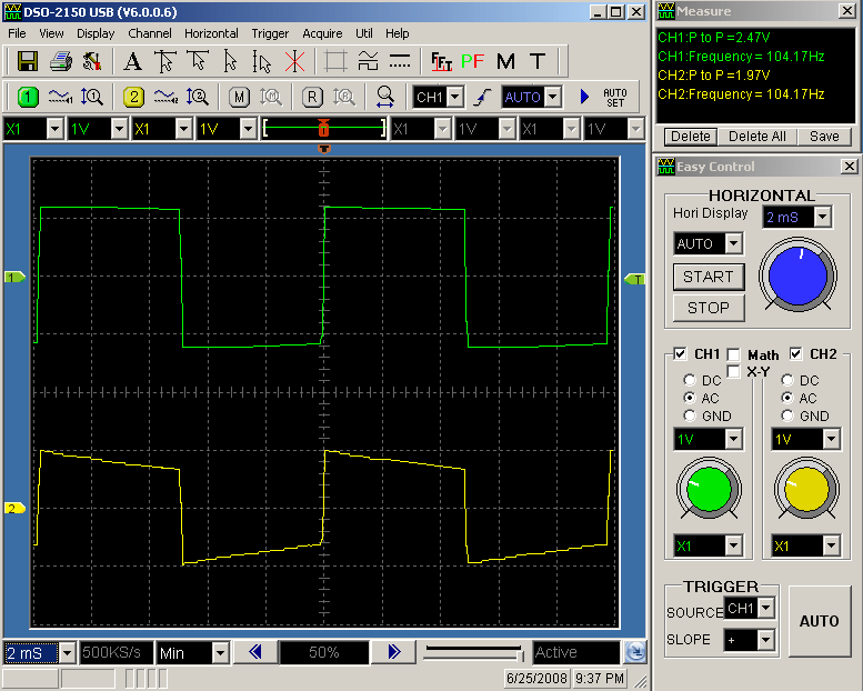 100Hz Square Wave Response of IRF610