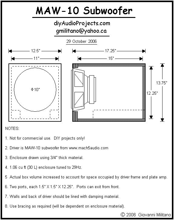Maw 10 Bass Reflex Subwoofer Enclosure Plan