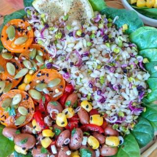 Veggie Rice Salad with Beans, Corn, and Cherry Tomatoes