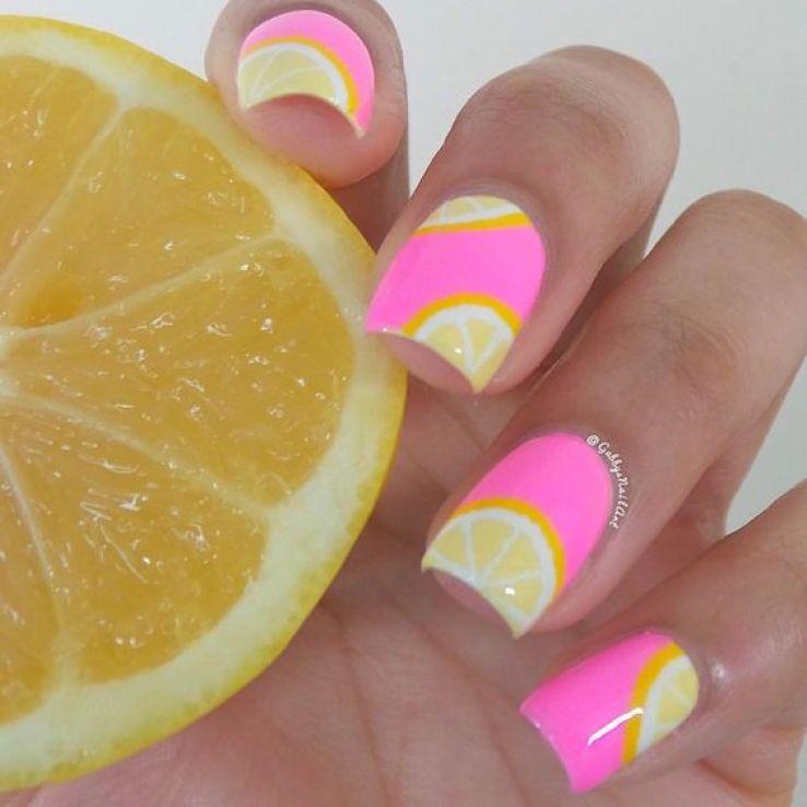 pink and yellow lemon nails