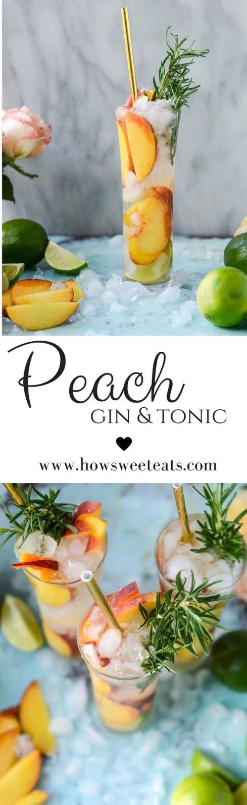 Peach gin and tonic