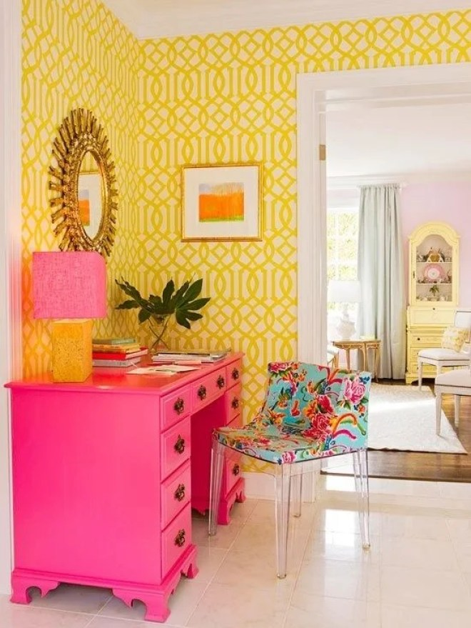 This yellow adds so my light and cheer to the room! If you are afraid of overdoing it, just pick one wall and you have completely transformed the look of your room.