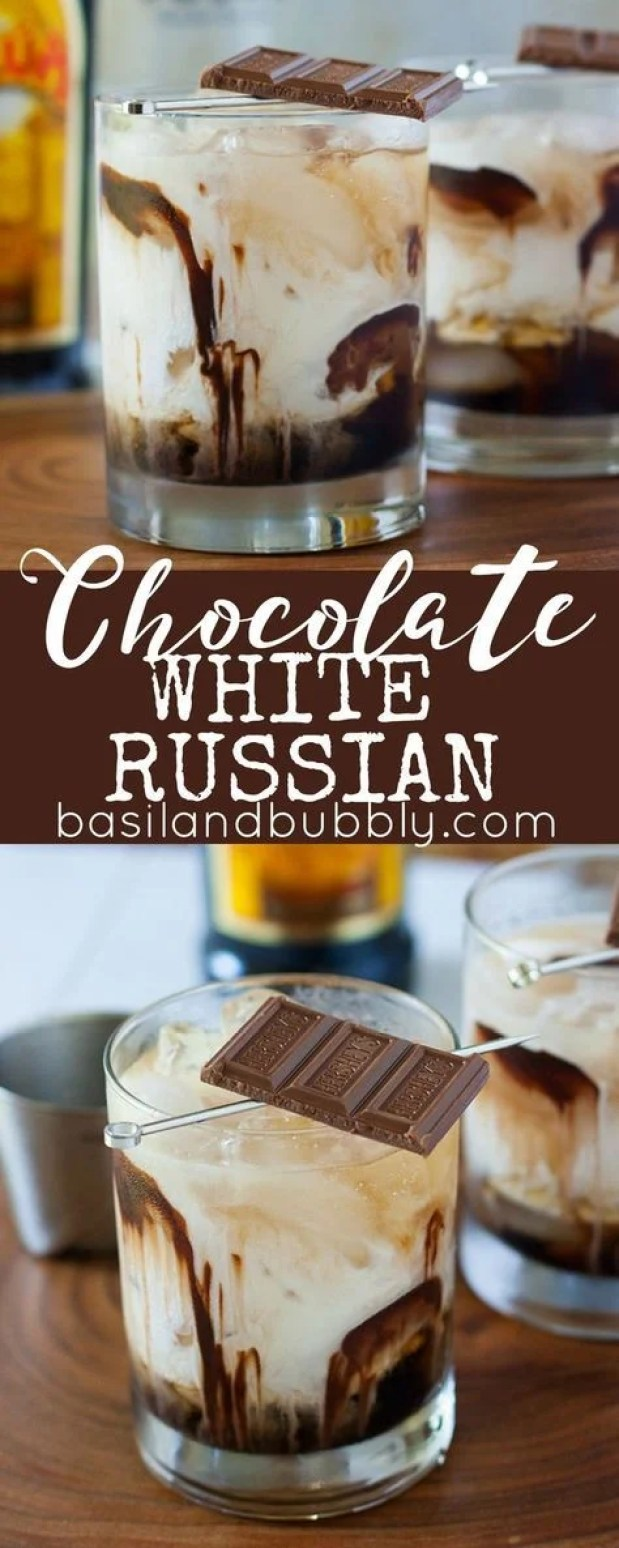 This chocolate white Russian dessert cocktail looks sooo good! I can't wait to try it!