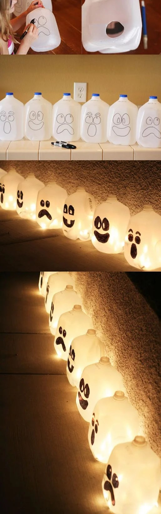 Budget Friendly DIY Halloween Luminary Made From Recycled Bottles