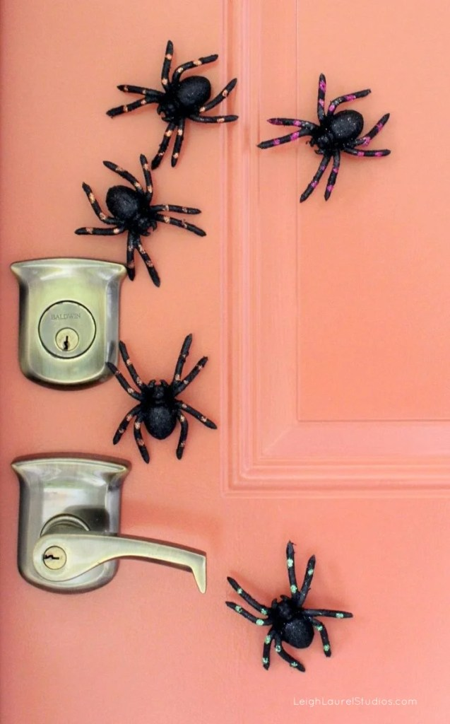 Easy Halloween Door Decor with Spiders