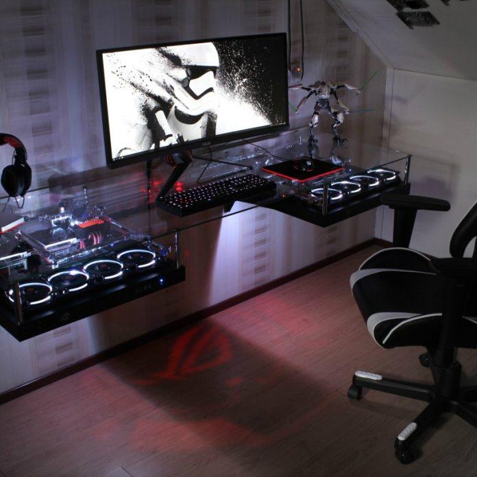 Floating PC Gaming Room Desk Setup