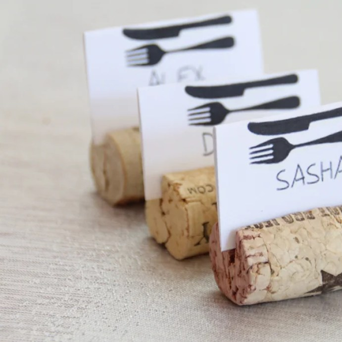 Step up your dinner party game with wine cork name tags!