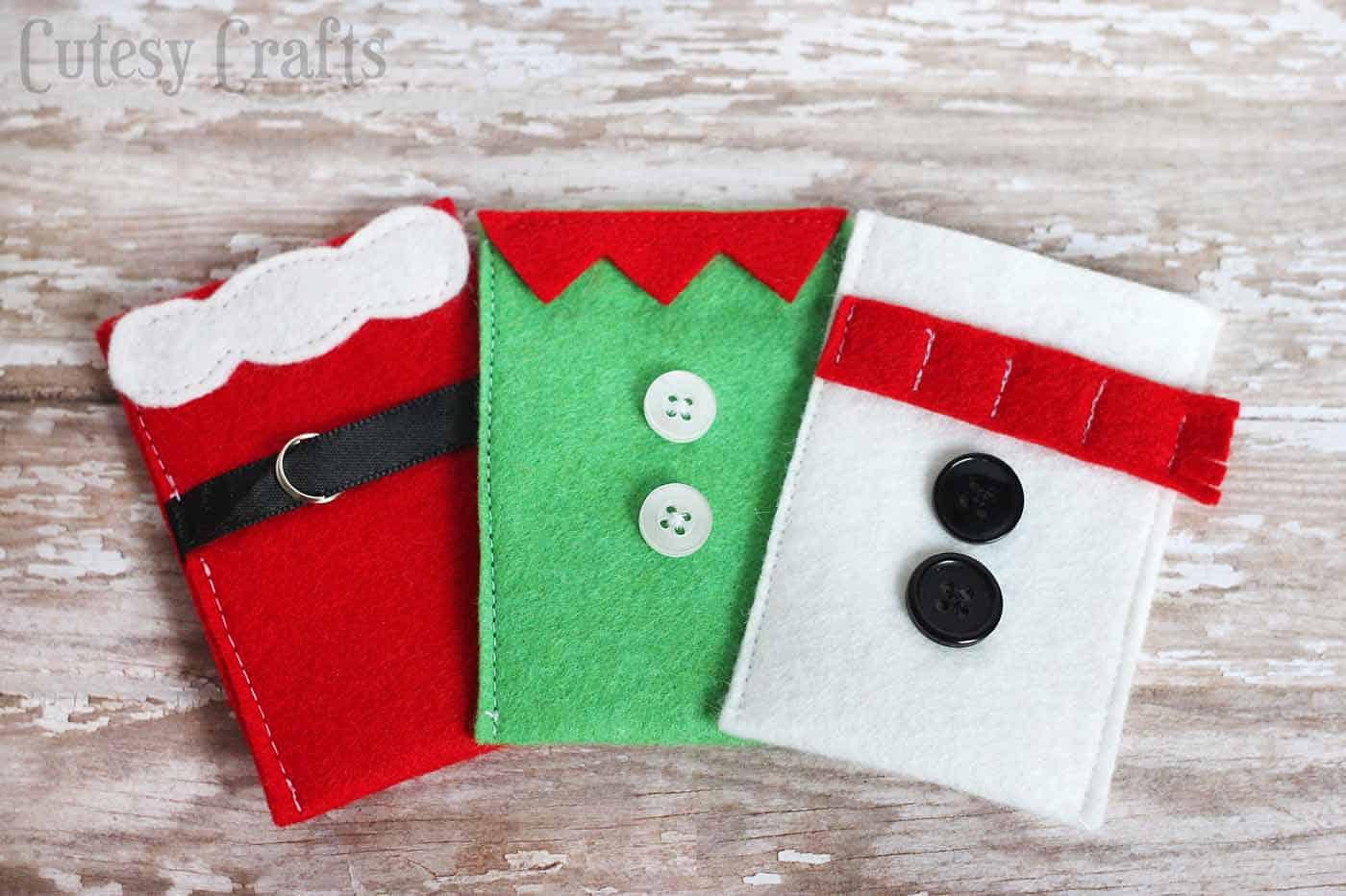Felt Character Christmas Gift Card Holders DIY Candy