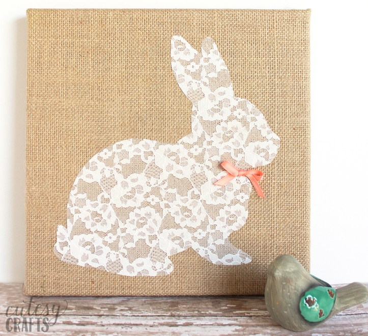 Combine brown burlap with delicate lace to make this pretty bunny canvas - it's an easy Easter craft you'll want to keep up for the entire year!