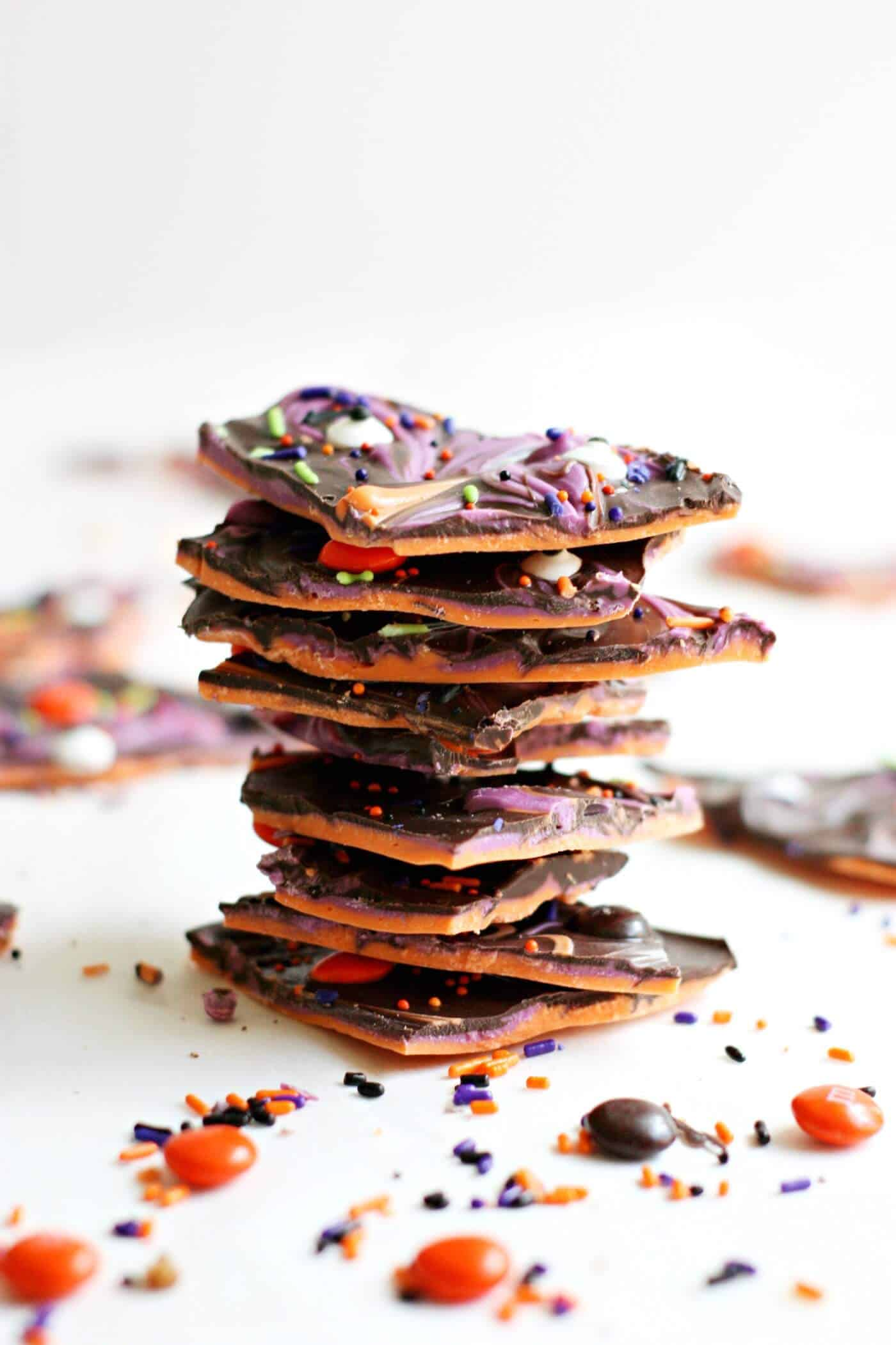 Stack of Halloween candy bark pieces